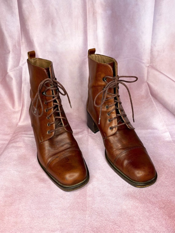 Joan & David Vintage 1990's Brown Leather Lace Up