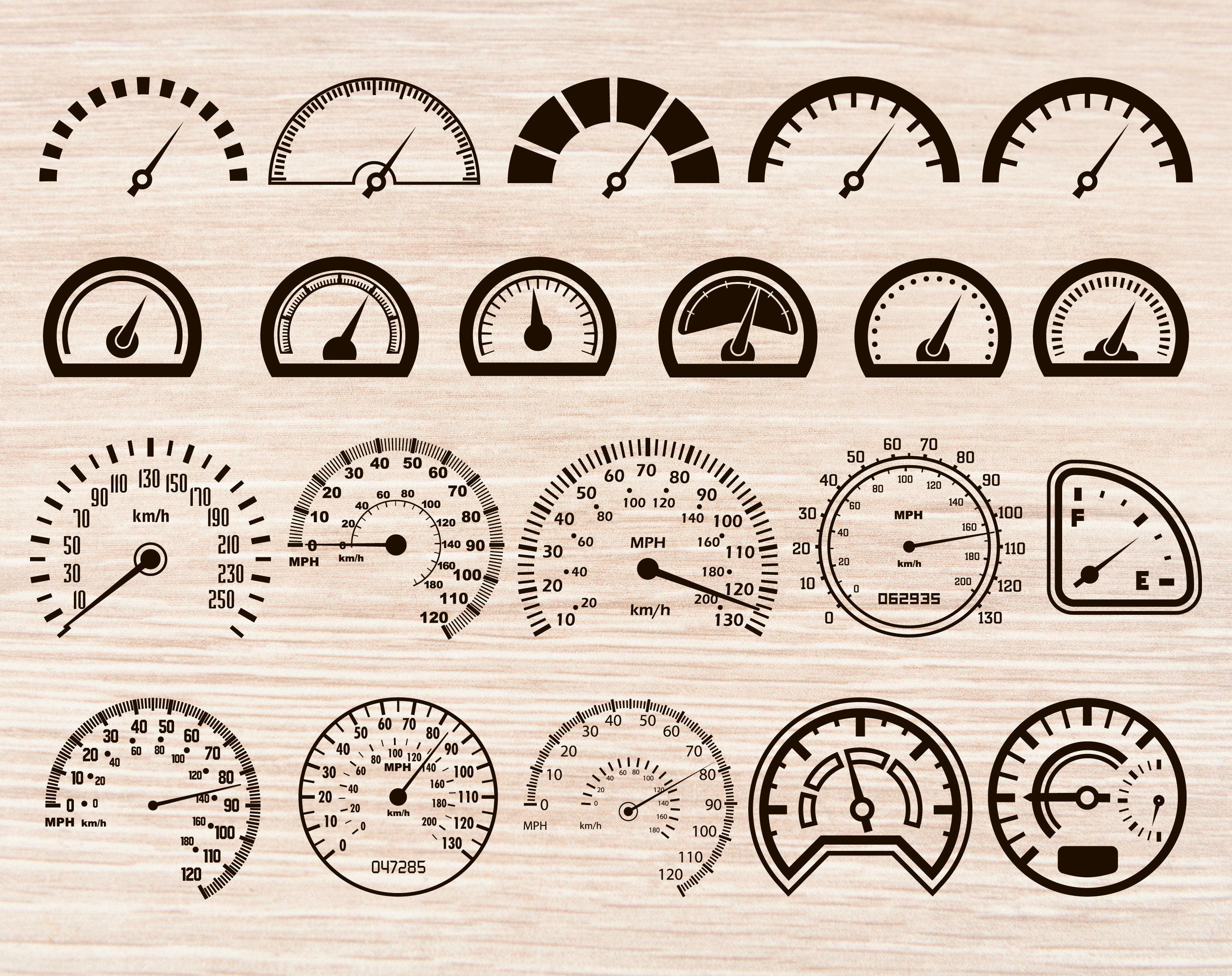Speedometer svg Speedometer svg files Speedometer svg bundle Car svg Race  car svg Speed svg Vehicle svg Tachometer clipart silhouette svg