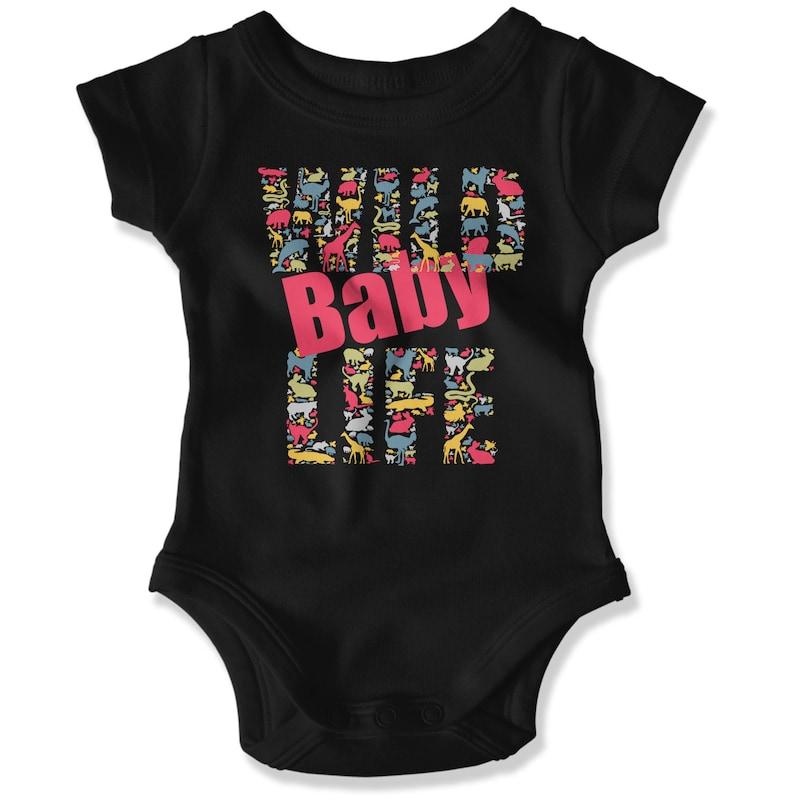 Mummy and Me Mama/'s Mini Mum T-Shirt and Baby Rabbitskin Wild Life