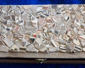 A beautiful trinket or jewelry box comprised of Prhistoric inset Mimbres Pottery shards