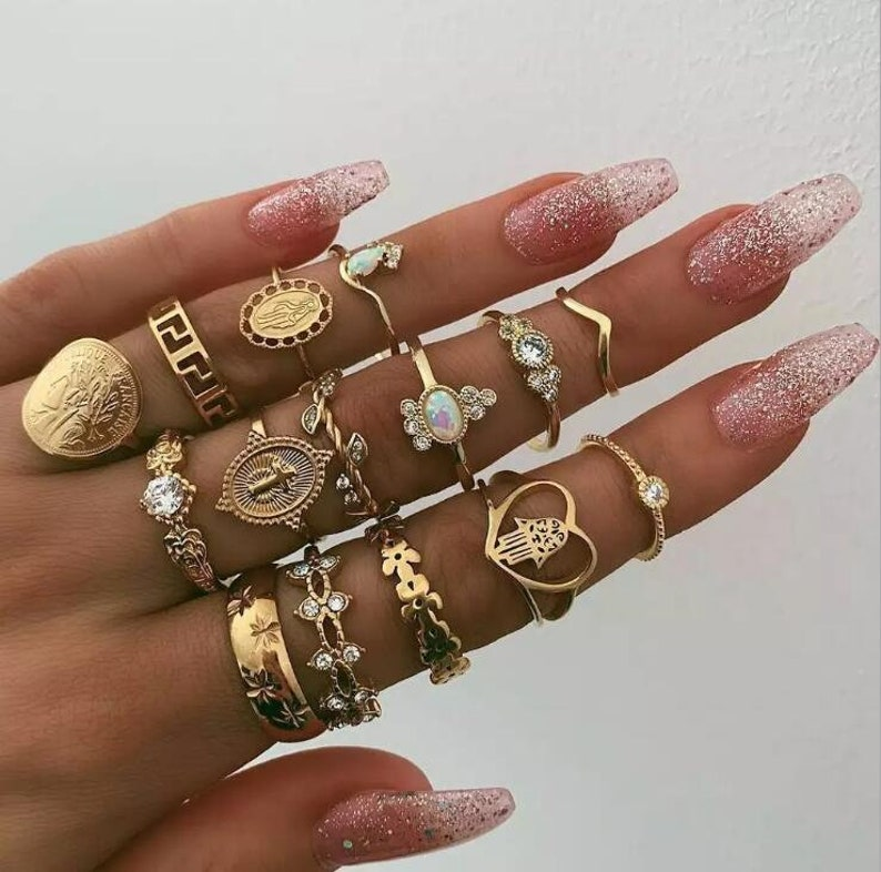 15 pcs ring set European and American joint ring creative retro portrait gold coin cross pattern diamond love ring set of 15