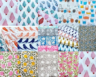 Mix 1 yard cut Sold By yard , Hand Block print Fabric ,Face mask Supply Craft supply Block print Fabric for Multi usage