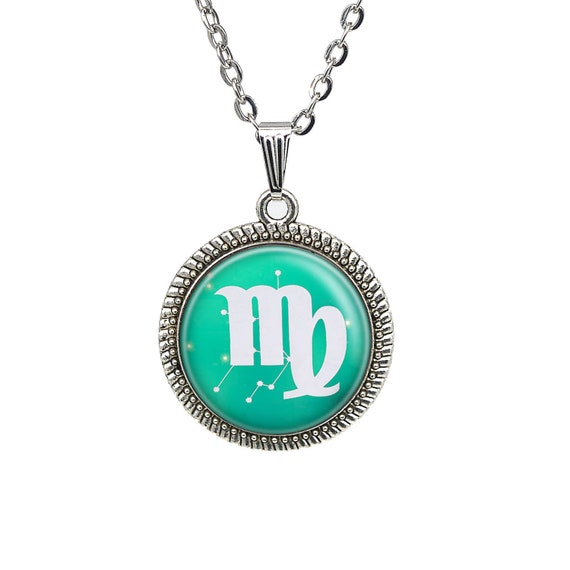Capricorn Necklace Glass Zodiac Sign Charm Chain Necklace Constellation Jewelry
