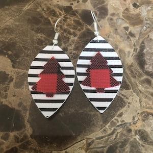 dangle earrings faux leather silver shimmer dress up cutout earrings Easter earrings Mother/'s Day earrings