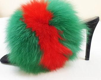 876405f45a3 Gucci inspired fox fur slipper slides slippers Genuine fox furry Slip On