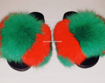 4a2e9a433d8e5c Gucci inspired fox fur slipper slides slippers Genuine fox furry Slip On  Fluffy flats