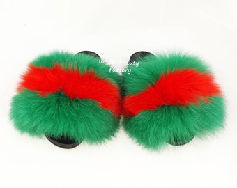 f5933e2e503a Gucci inspired fox fur slipper slides slippers Genuine fox furry Slip On  Fluffy flats