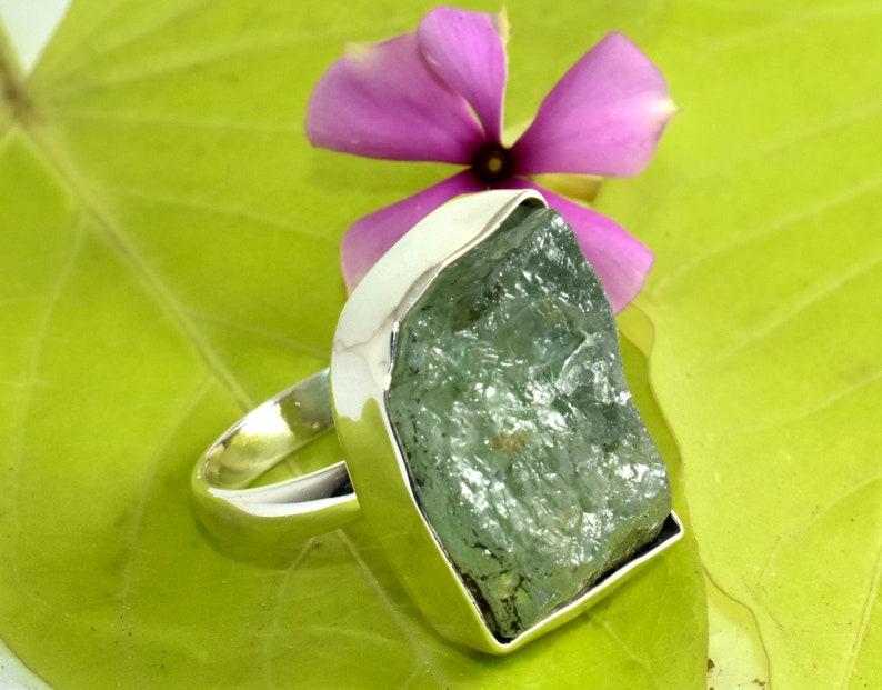 925 Sterling Silver Aquamarine Rough Ring 8,Raw Stone Ring,Raw Aquamarine Ring,March Birthstone,Gifts Raw Aquamarine Ring Aquamarine Ring