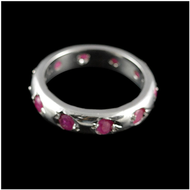 Natural Ruby Sapphire Emerald 925 Sterling Silver CZ Zircon Ring Jewelry Sizable