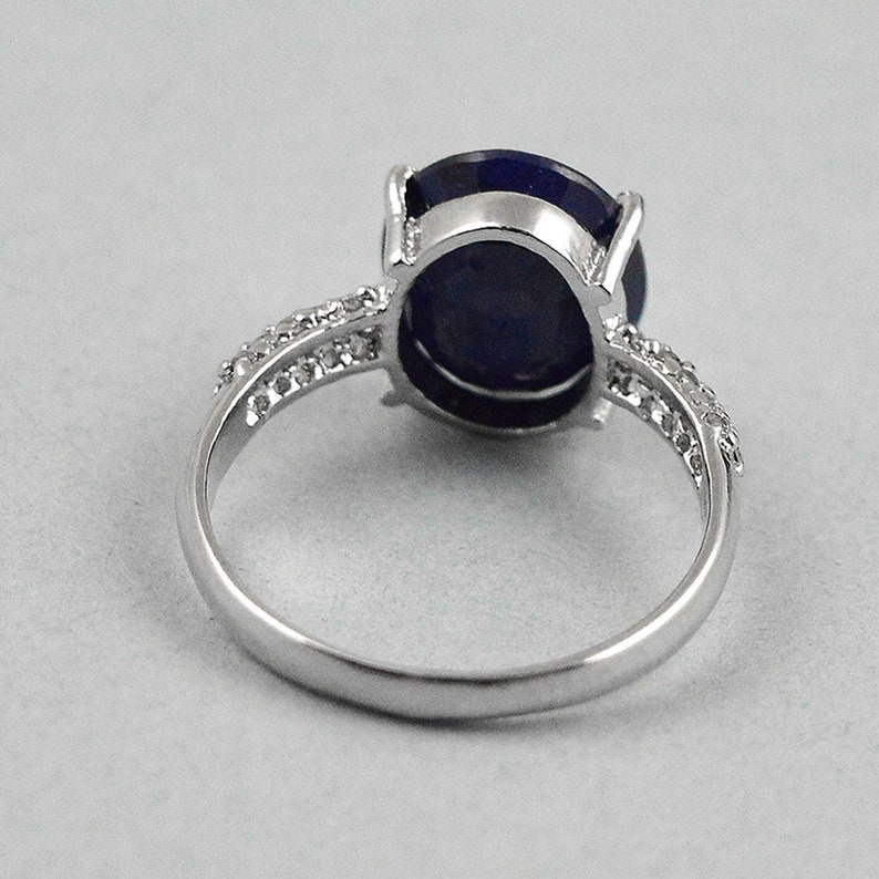 925 Sterling Silver Gemstone Ring September Birthstone Natural Sapphire Ring