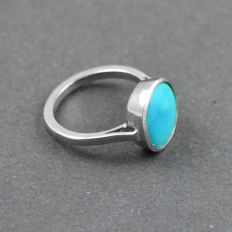 Blue Stone Ring Unisex Ring December Birthstone Turquoise Ring In 925 Sterling Silver- Gemstone Ring