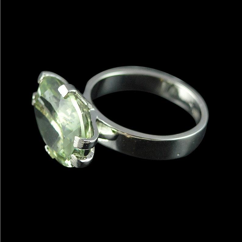 Gemstone Ring 925 Sterling Silver Amethsyt Jewellery Feburary Birthstone Green Amethyst Ring