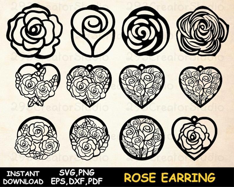 Rose Earring svg Flower earring SVG leather template Earring Rose svg cut file Heart earring Laser cut template Jewelry cut file Silhouette