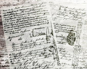 Printed Vellum pages   Vintage handwriting   A5 size