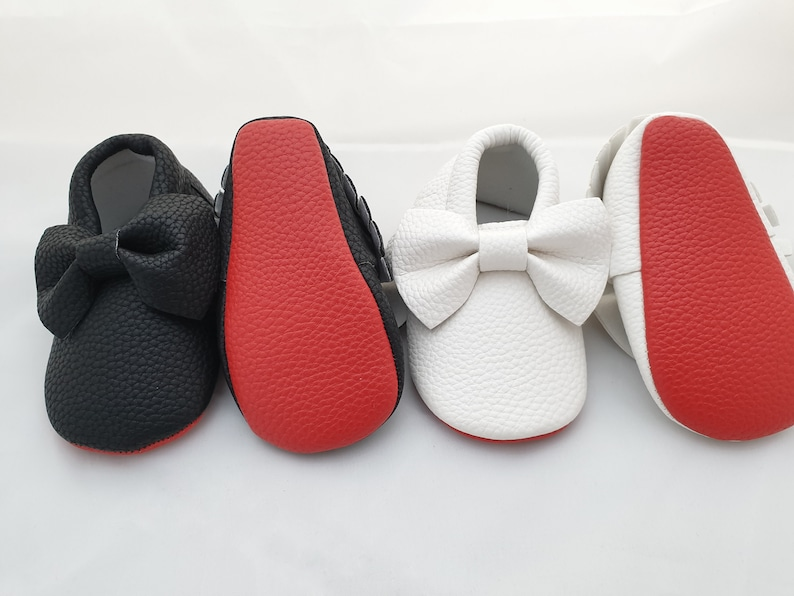 8cb4d526984f4 Red Bottom Baby Shoes Unisex - Black, White, Cream, Gold with Bow