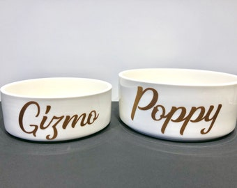 Pet Supplies Dishes, Feeders & Fountains Personalised Cat Bowl Ceramic Henry Hinch