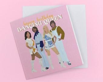 ABBA Birthday Card / Dancing Queen / Mamma Mia / Birthday Card / Greeting card / ABBA Illustration / Novelty Greeting Card
