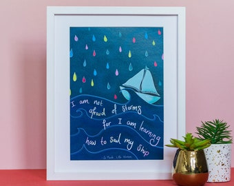 """Little Women Quote A4 Art print / Illustration / """"I am not afraid of storms"""" / Louisa May Alcott Print / Wall Art / Home Decor"""