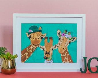 Giraffe selfie A4 art print / Giraffe Illustration / Home Decor / Wall art