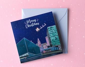 Liverpool Christmas Card / Merry Christmas Liverpool / Liverpool skyline Christmas card