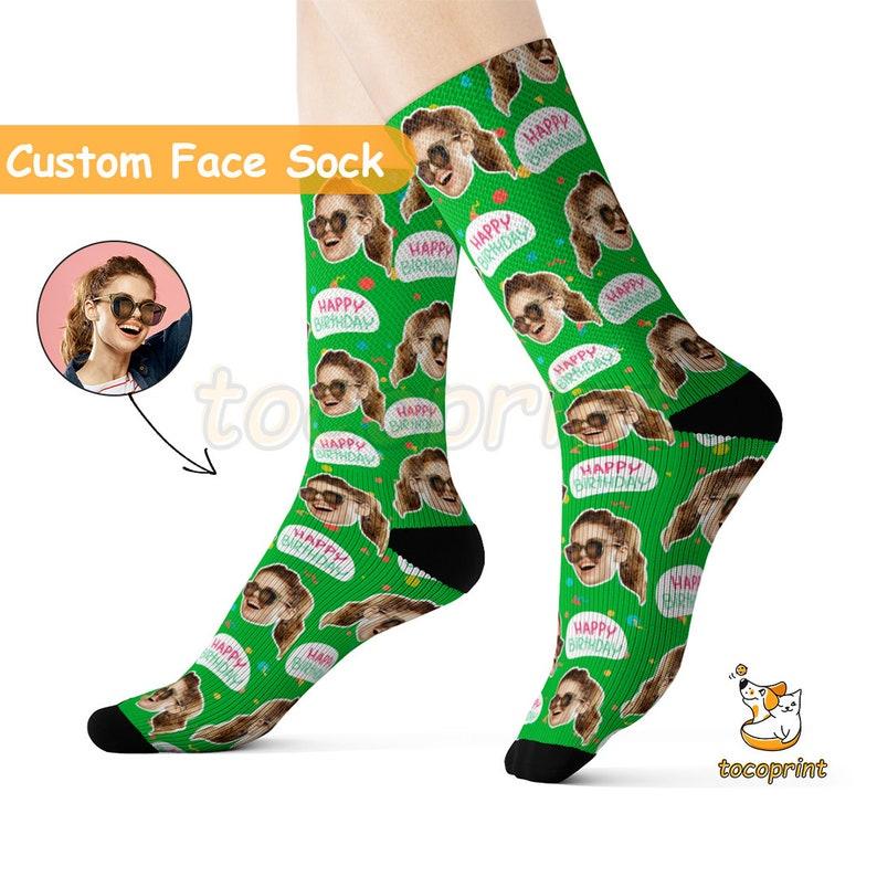2e3d79de58fdc Happy Birthday Squiggle Socks Birthday Gift Custom Face | Etsy