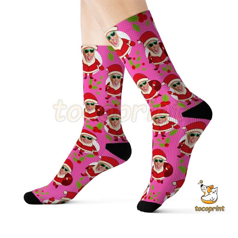 Christmas Present Santa Socks Team Socks Custom face Socks Personalized Socks Custom Christmas Socks