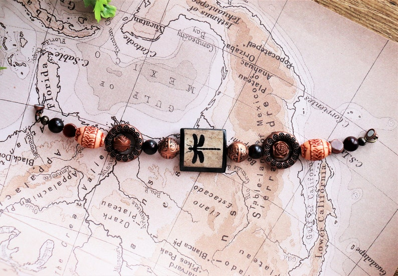 Elegant Bracelet Dragonfly Bracelet Vintage Bracelet for Woman with Magnet Clasp Custom Sizes Wood Bead Bracelet