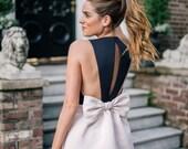 Skater dress Bow back linen dress black and white dress short dress party dress classic casual wear backless