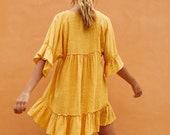 Chrome Cotton Dress wrap up dress chrome yellow dress Mini dress loose dress Summer casual wear bell sleeves robe dress