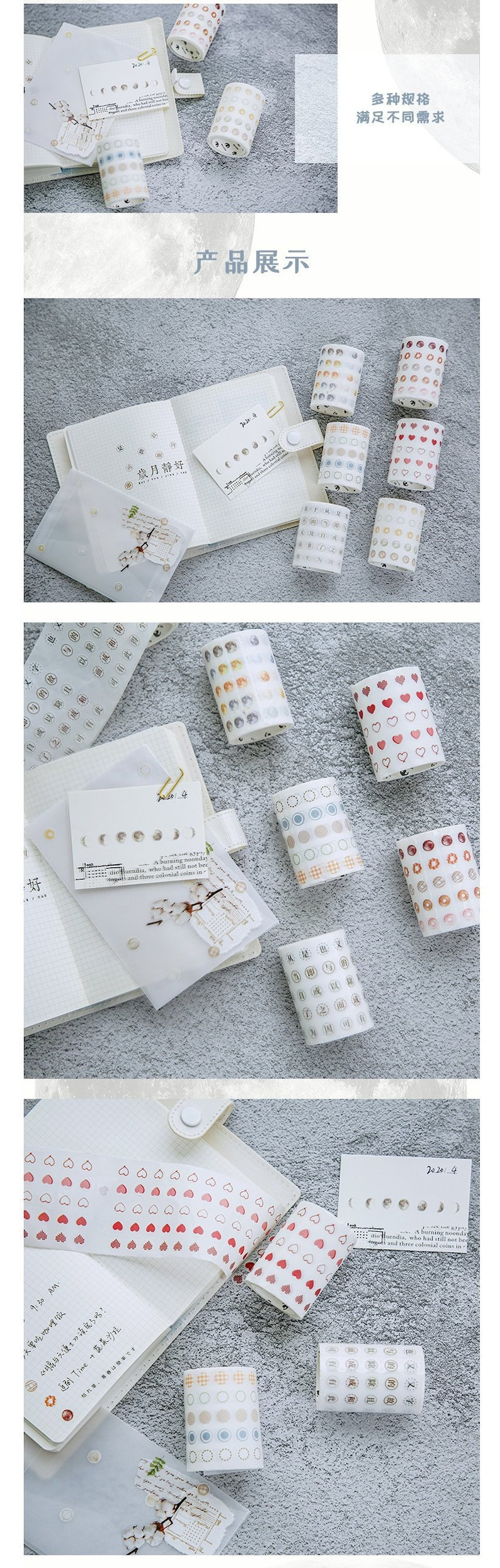 Journal KS-RT-497 Planner Decoration Washi Time Basic Dot Series Roll Tapes Craft bullet journal accessory 6 Types Scrapbooking