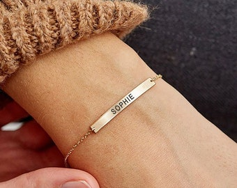 bar bracelet for her and him Personalised silver and leather secret message bracelet name initial bracelet personalized gift