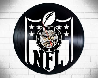 Vinyl Clock NFL Logo Emblem Sport Is Life American Football Retro Record Wall Vintage Man Art Gift For Students Company