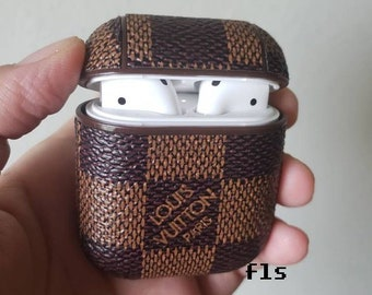bd6df26d403 Inspired Airpods Case, Handmade brown damier leather case for airpods , Louis  Vuitton Monogram, LV airpods case, airpod case Louis Vuitton.