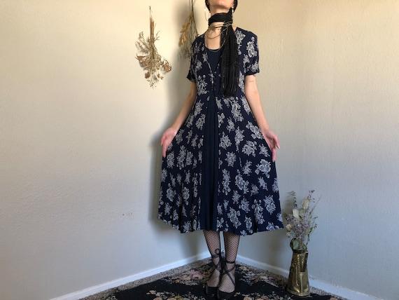 1980s Navy Blue Floral Midi Maxi Dress