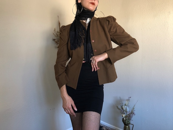 1970s Victorian Brown Wool Jacket with Puff Should