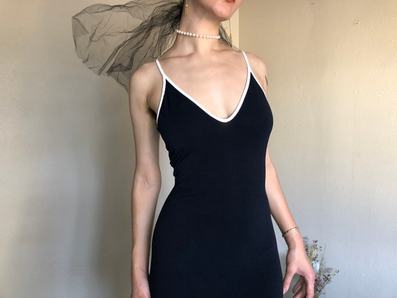 1990s Backless Plunge Maxi Dress - Bebe Moda Black
