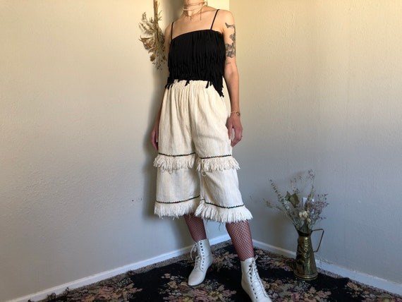 1970s Folk White Cotton Embroidered Gaucho Pants w