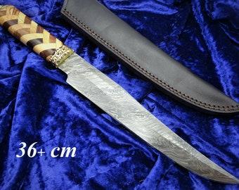 Jagdmesser-Bowiemesser-Kukri-Tanto-Damastmesser-Messerkunst T94 Groß 38cm-