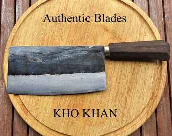 Kitchen Knife Chopping Knife Chopping Axe by Authentic Blades -KHO KHAN with 19 cm Blade- Handmade Sharp Carbon Blade Wooden Handle Fair Sustainable