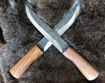 Beautiful rustic sax knife with carbon steel blade and wooden handle-medieval viking knife-carbon steel-hand-forged-wood handle-32 cm (K98)