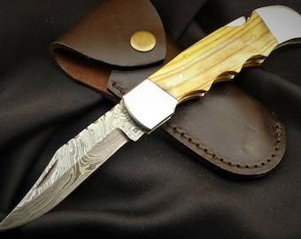Damask Knife Pocket Knife Hunting Knife-Damask Pocket Knife GROSS+STABIL (T26o)