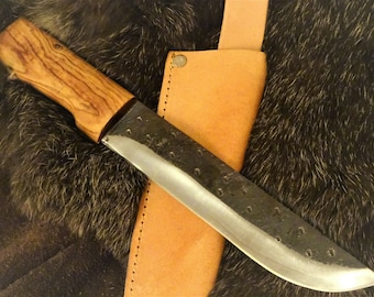 Beautiful rustic sax knife with carbon steel blade and wooden handle-medieval viking knife-carbon steel-hand-forged-wood handle-32 cm (K50)