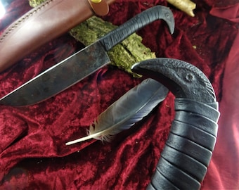 Medieval Knife Viking Knife Carbon Steel Hand Forged Bird Head - Black Leather Winding (TM9s)