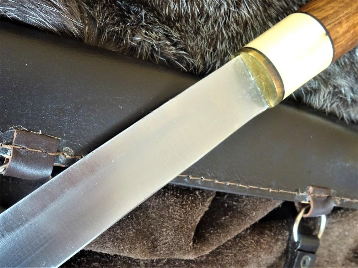 Yellow Bakelite Handled Meat Carving Knife Large Vintage