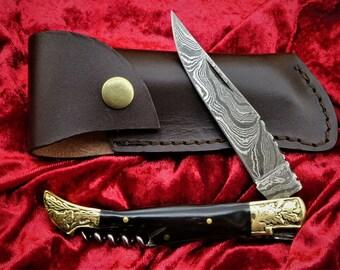 Pocket Knife-Laguiole-Damask Knife-Hunting Knife-Folding Knife-Horn Handle-22 cm- (T21)
