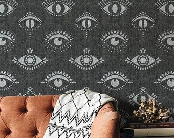 Protective Eyes Wallpaper - Evil Eye Wall Art Design - All Seeing Eye Wallpapers - Bohemian Wall Decor - Boho Wall Pattern