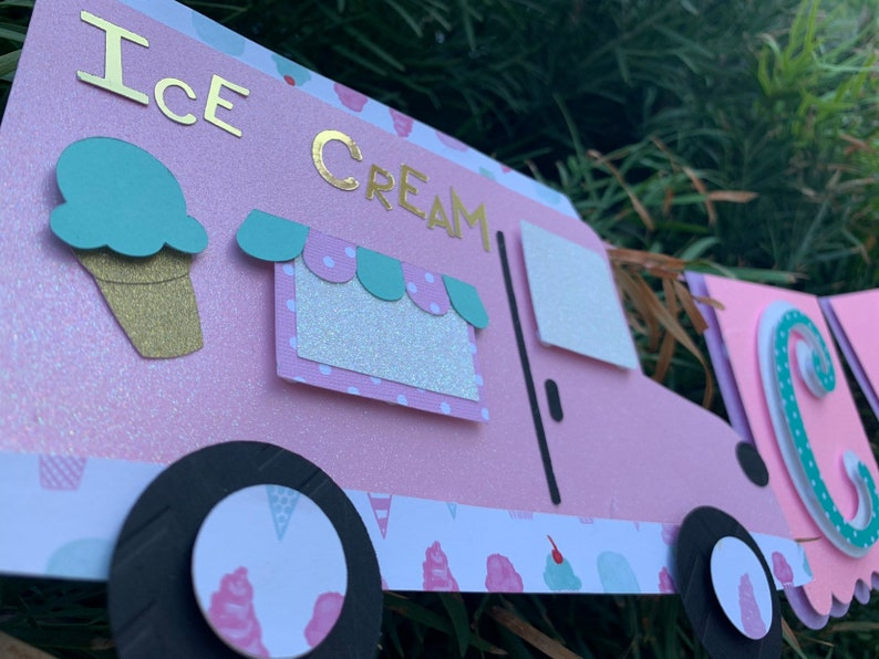 Ice Cream Name Banner / Birthday Banner / Ice Cream Theme