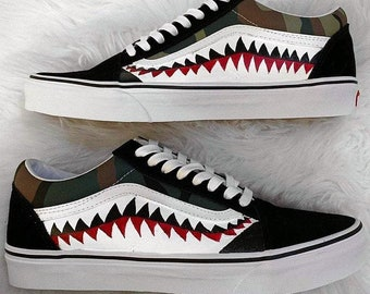 7b62f25c84c Bape Vans, bathing ape, vans old skool, bape shark, shark teeth vans, custom  bape vans, painted vans, custom vans shoes, custom shoes, bape