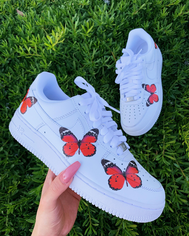 Butterfly sneakers, Butterfly Shoes, Custom nike shoes, Custom Air force 1, Nike Custom, Air Force 1, Nike Shoes, custom shoe, Red butterfly