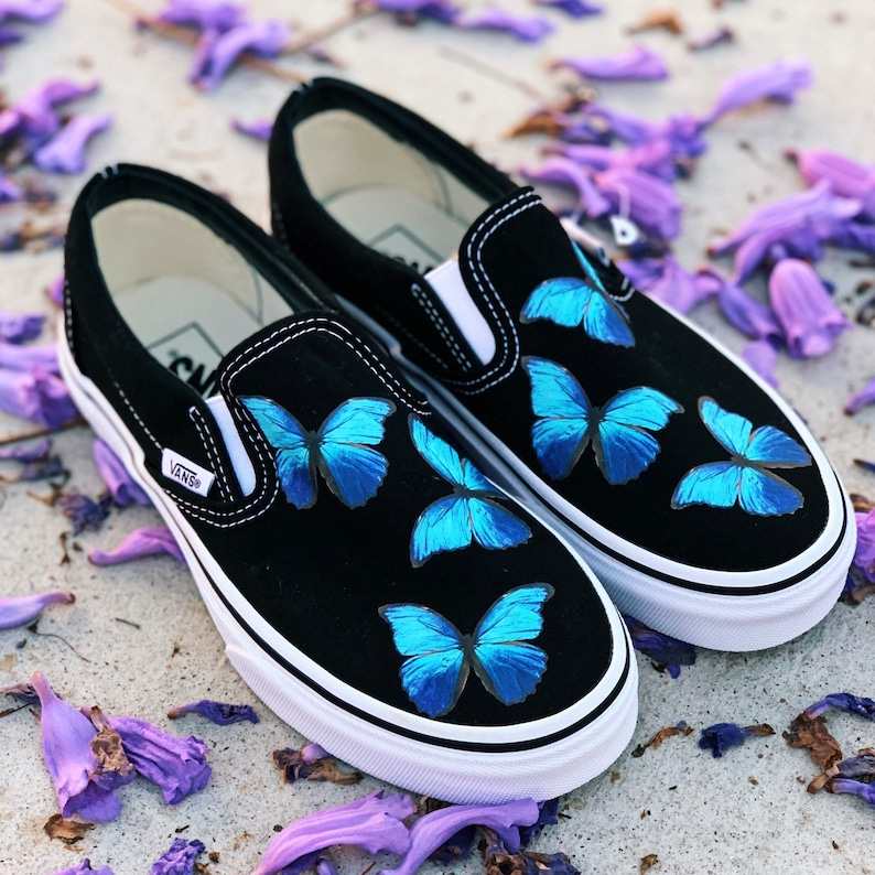 factory outlets complete range of articles extremely unique Custom Vans, Custom Shoes, Custom Sneakers, Summer Shoes, Butterfly Shoes,  handmade shoes, Blue Butterfly